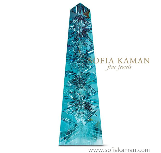 March Birthstone - The Dom Pedro aquamarine obelisk by gem sculptor Bernd Munsteiner