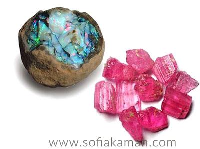 October Birthstones - Raw Opal & Pink Tourmaline