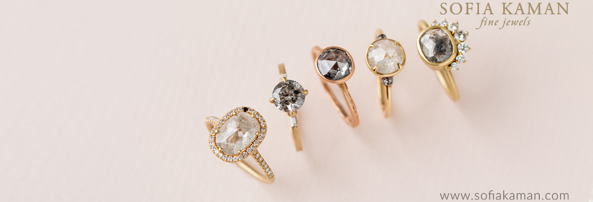 Sofia Kaman Salt and Pepper Diamond Engagement Rings