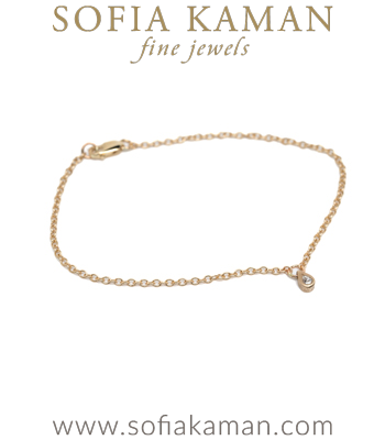 14K Gold Ethically Sourced Pear Shape Diamond Drop Boho Bracelet designed by Sofia Kaman handmade in Los Angeles