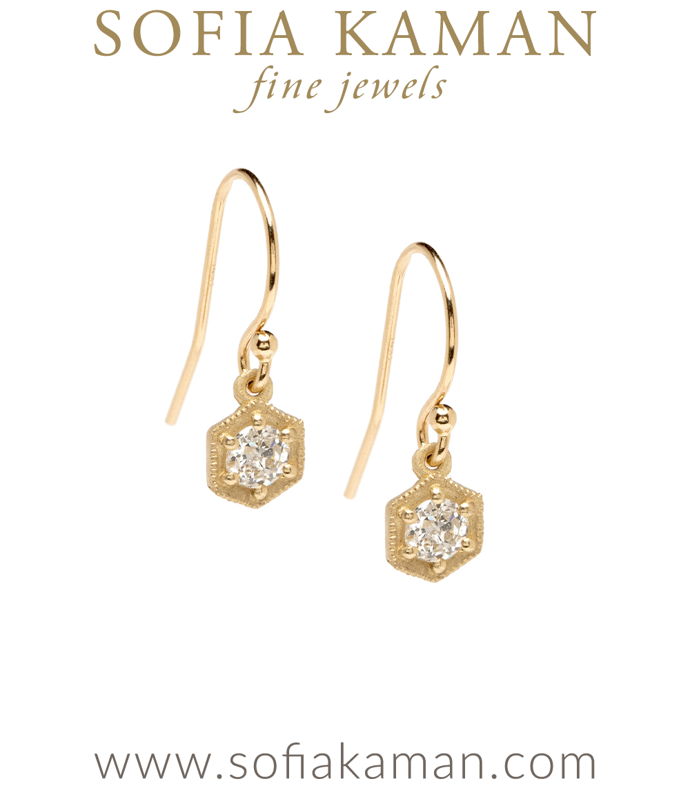 Small Hexagon Bridal Diamond Dangle Earrings designed by Sofia Kaman handmade in Los Angeles