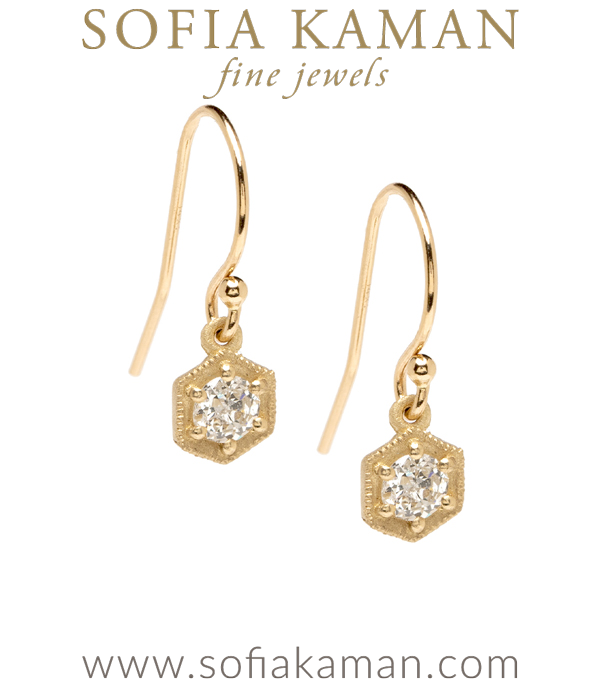 14K Gold Hexagon Rose Cut Diamond Boho Wedding Earrings designed by Sofia Kaman handmade in Los Angeles using our SKFJ ethical jewelry process.