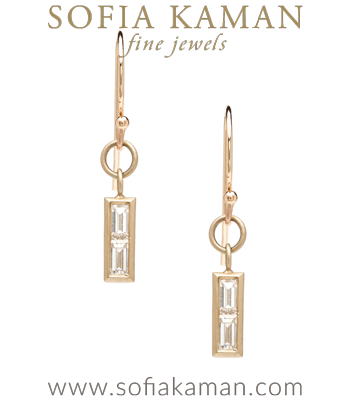 Baguette Diamond Bar Dangle Earrings designed by Sofia Kaman handmade in Los Angeles