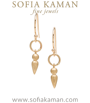 Boho Bridal Jewelry Gold Dangle Earrings designed by Sofia Kaman handmade in Los Angeles