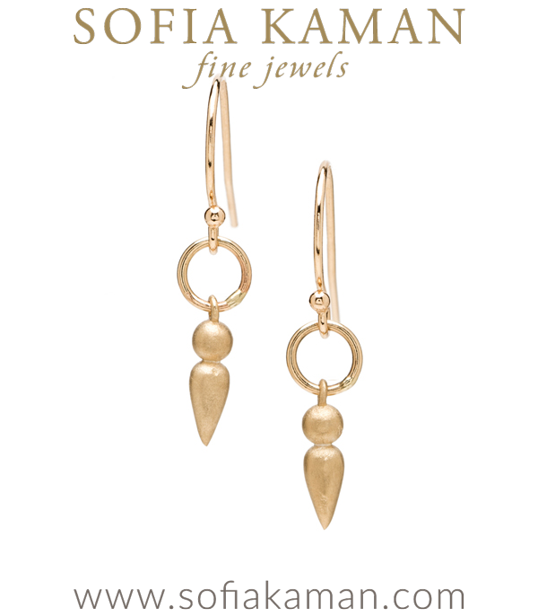 Boho Bridal Jewelry Gold Dangle Earrings designed by Sofia Kaman handmade in Los Angeles using our SKFJ ethical jewelry process.