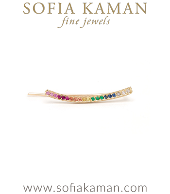 14k Matte Gold Rainbow Sapphire Pave Ear Climbers designed by Sofia Kaman handmade in Los Angeles