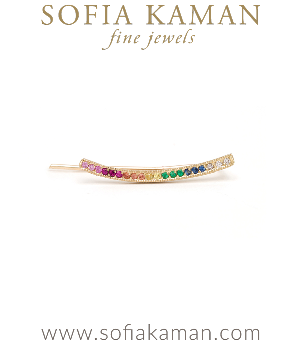 14k Matte Gold Rainbow Sapphire Pave Ear Climbers designed by Sofia Kaman handmade in Los Angeles using our SKFJ ethical jewelry process.