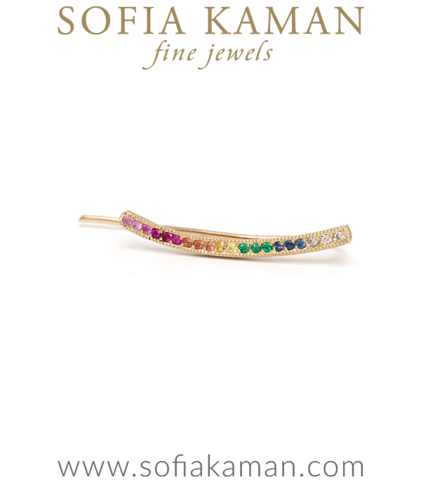 14k Matte Gold Rainbow Sapphire Pave Ear Climbers made in Los Angeles