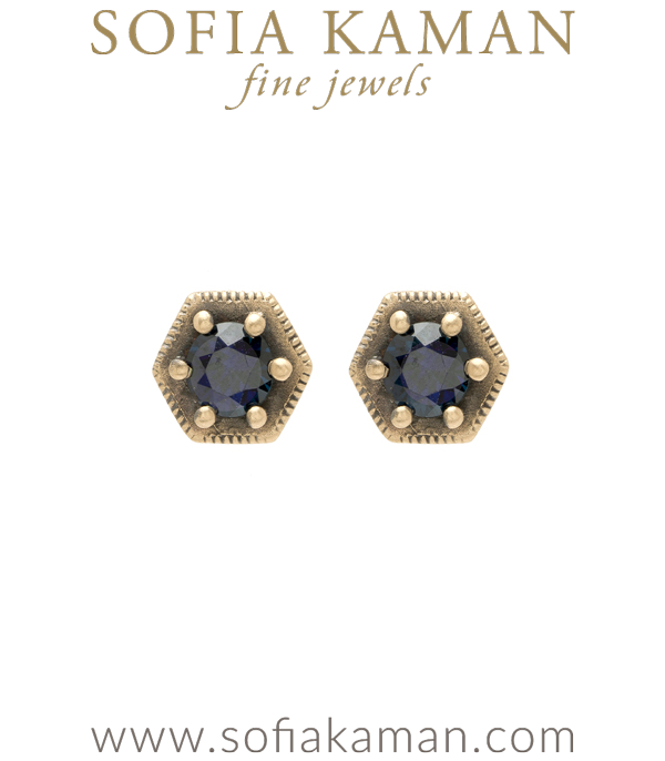 14K Matte Yellow Gold Blue Sapphire Hexagon Bridal Earrings Designed for Unique Engagement Rings designed by Sofia Kaman handmade in Los Angeles using our SKFJ ethical jewelry process.