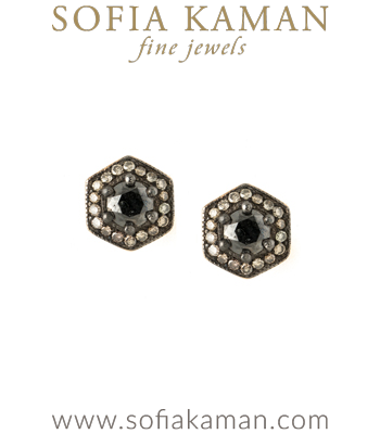Diamond Halo Black Diamond Hexagon Earrings Perfect for Salt and Pepper Engagement Ring designed by Sofia Kaman handmade in Los Angeles