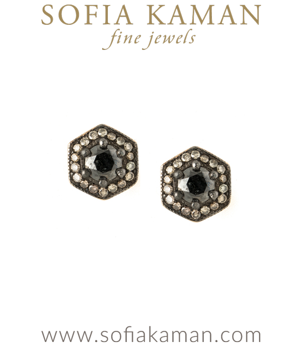 Diamond Halo Black Diamond Hexagon Earrings Perfect for Salt and Pepper Engagement Ring designed by Sofia Kaman handmade in Los Angeles using our SKFJ ethical jewelry process.