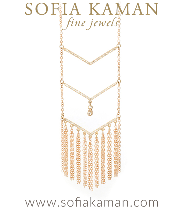 30 Inch Gold Triple Tiered Pave Diamond Chevron Necklace