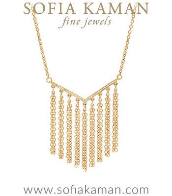 Diamond Chevron 14K Gold Fringe Bridal Necklace Perfect for Unique Engagement Rings designed by Sofia Kaman handmade in Los Angeles