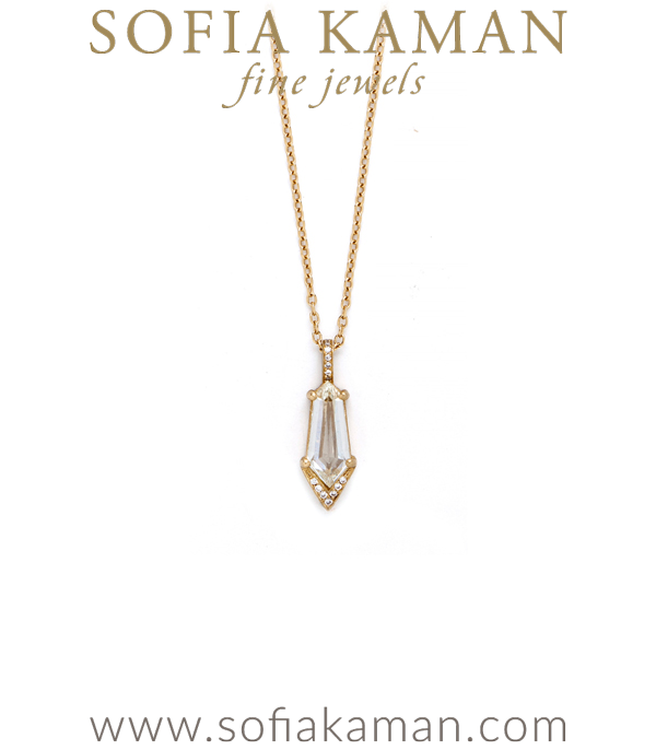18k Matte Gold Elongated Hexagonal Cut Diamond Pave Pendant Necklace