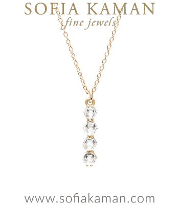 Rose Cut Diamond Bar Bohemian Bridal Necklace designed by Sofia Kaman handmade in Los Angeles