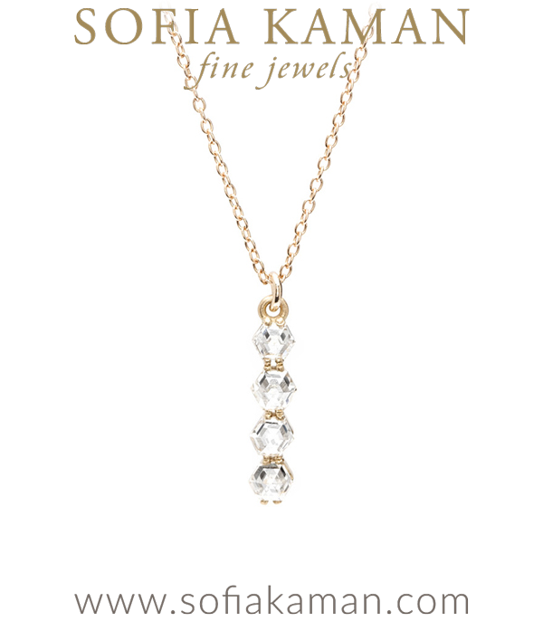 Chic, sleek, and so unique! One of our most remarkable pieces, this diamond bar necklace stands apart from the rest. Set with four unique rose cut hexagon diamonds (0.68 ctw) this necklace sparkles like no other. Pendant hangs from tiny cable chain, 16″.A hint of deco styling is reflected in the stone's  crisp step cuts and angular design. This necklace speaks our kind of geometry! designed by Sofia Kaman handmade in Los Angeles