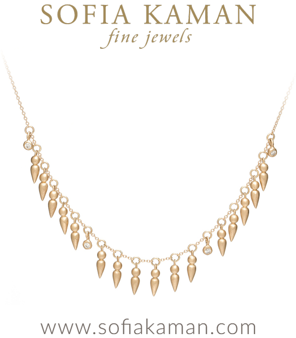 Matte Gold Diamond Pod Dangle Spear Necklace made in Los Angeles