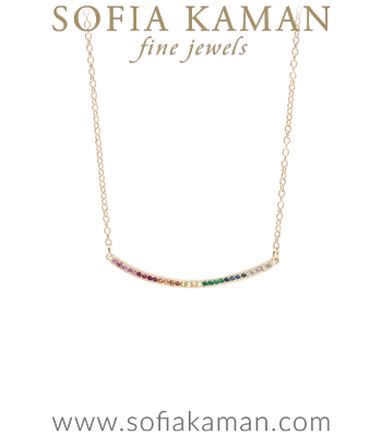 14k Gold Rainbow Sapphire Emerald Pave Diamond Bohemian Ombre Bar Necklace designed by Sofia Kaman handmade in Los Angeles