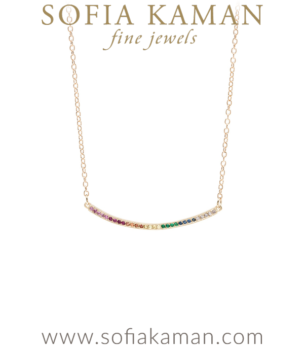 14k Gold Rainbow Sapphire Emerald Pave Diamond Bohemian Ombre Bar Necklace designed by Sofia Kaman handmade in Los Angeles using our SKFJ ethical jewelry process.