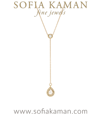 Gold Diamond Pear Shape Diamond Drop Rose Cut Center Diamond Lariat Necklace designed by Sofia Kaman handmade in Los Angeles
