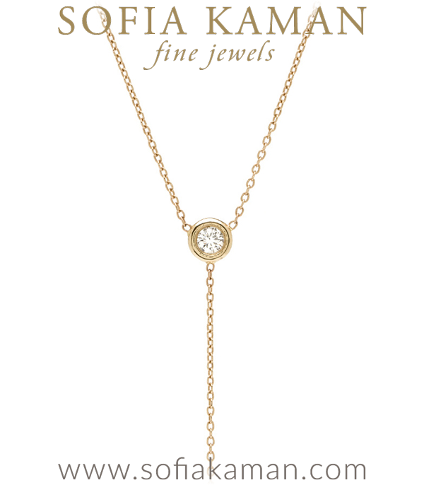 Gold Pear Shape Diamond Lariat Necklace