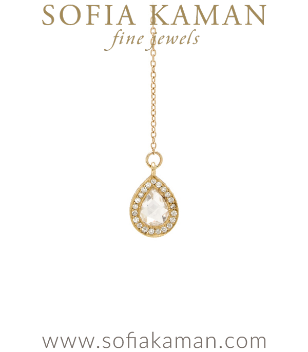 Pear Shape Diamond Drop Lariat Necklace