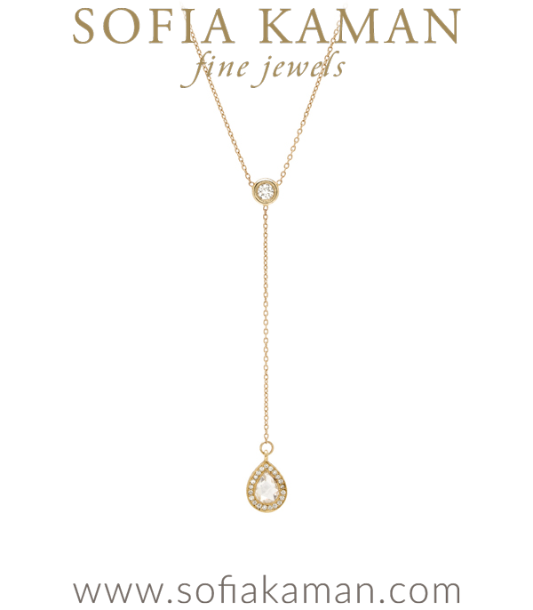 Pear Shape Diamond Pendant Lariat Necklace