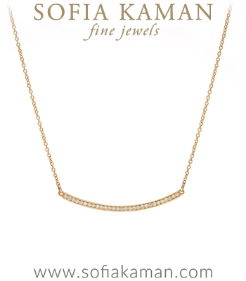 Minimal Modern 14K Gold Diamond Bar Necklace Perfect For Engagement Rings designed by Sofia Kaman handmade in Los Angeles