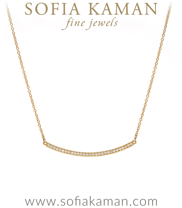 Minimal Modern 14K Gold Diamond Bar Necklace Perfect For Engagement Rings designed by Sofia Kaman handmade in Los Angeles using our SKFJ ethical jewelry process.