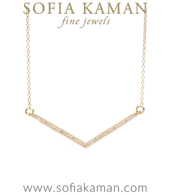 Gold Diamond Chevron Boho Bridal Necklace designed by Sofia Kaman handmade in Los Angeles