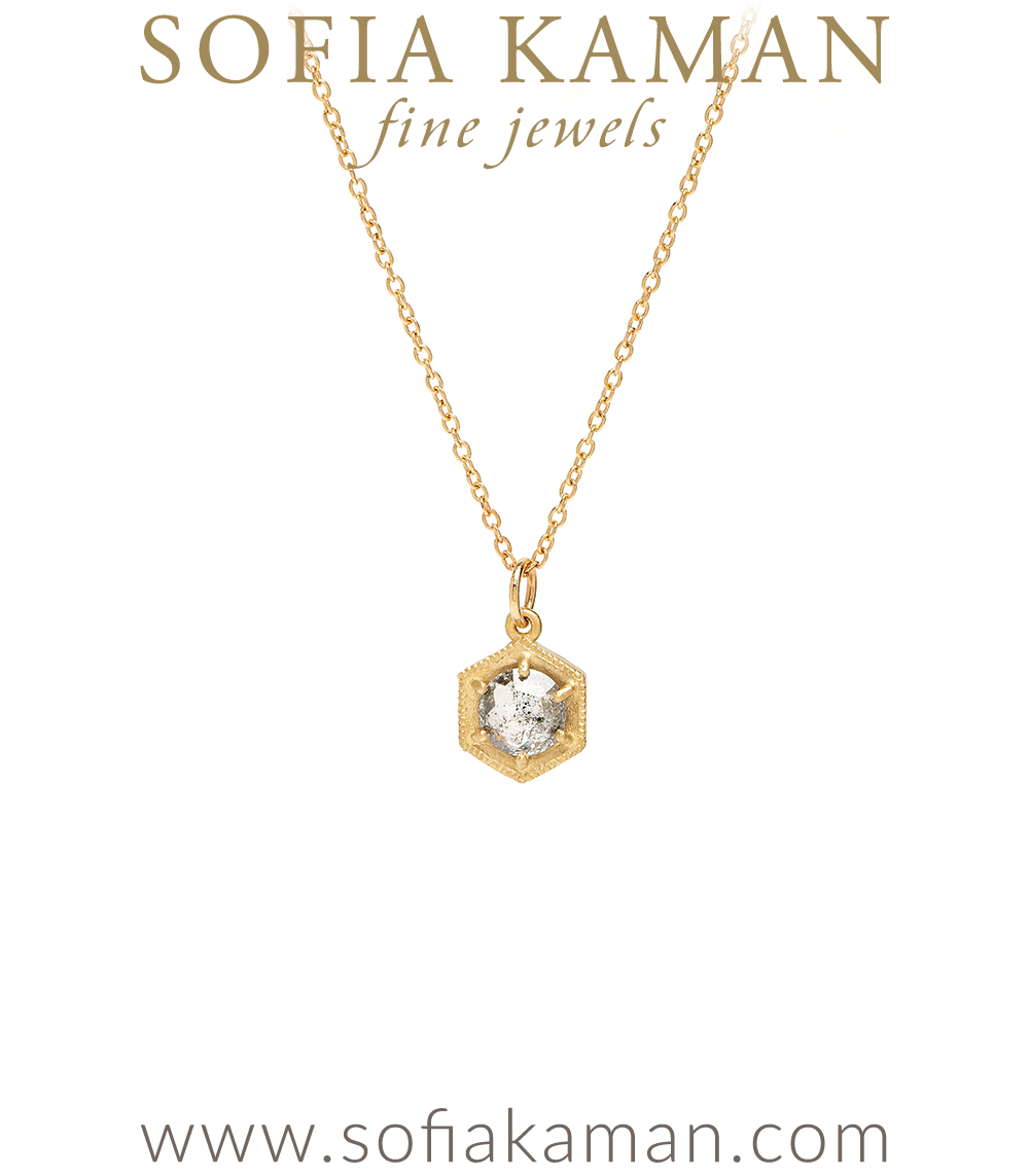 14k Yellow Recycled Gold Pebble Necklace Salt and Pepper Diamond