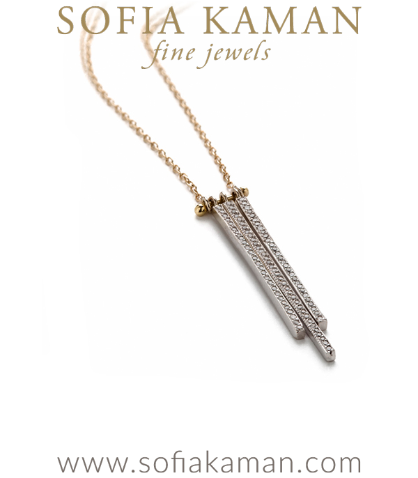 This layering diamond necklace playfully draws inspiration from a skyscraper-lined silhouette. Shimmering, clean and modern, three diamond-set bars catch and reflect light like the windows of an art deco building.Minimal and chic this sparkling gold bar necklace is the perfect everyday piece to elevate a casual outfit while running to the Farmer's Market or grabbing a mocha. We'd pair this stylish diamond necklace with our favorite rose cut diamond hexagon necklace for a layered look.This minimal gold necklace is set with 0.26ctw of brilliant cut diamonds and handcrafted by our artisan jewelers in Los Angeles. designed by Sofia Kaman handmade in Los Angeles