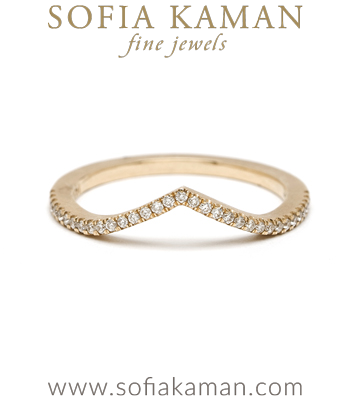 Gold Chevron Pave Diamond Stacking Ring Bohemian Wedding Band made in Los Angeles