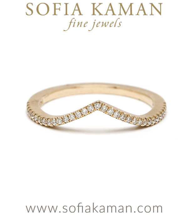 Gold Chevron Pave Diamond Stacking Ring Bohemian Wedding Band designed by Sofia Kaman handmade in Los Angeles using our SKFJ ethical jewelry process.