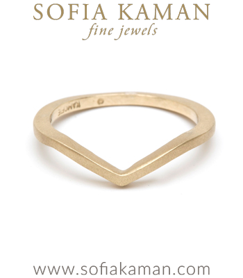 Gold Chevron Stacking Ring Bohemian Wedding Band designed by Sofia Kaman handmade in Los Angeles