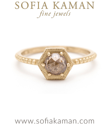 Gold Engagement Rings Rose Cut Champagne Diamond Hexagon Bohemian Engagement Ring designed by Sofia Kaman handmade in Los Angeles