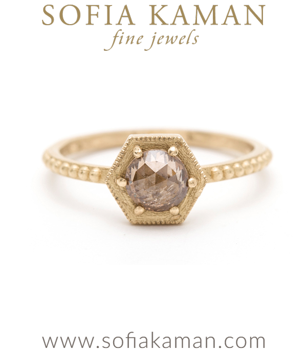 Rose Cut Champagne Diamond Hexagon Bohemian Engagement Ring designed by Sofia Kaman handmade in Los Angeles