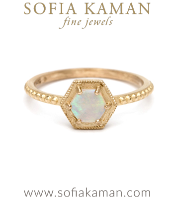 Opal Hexagon Halo Boho Stacking Ring designed by Sofia Kaman handmade in Los Angeles