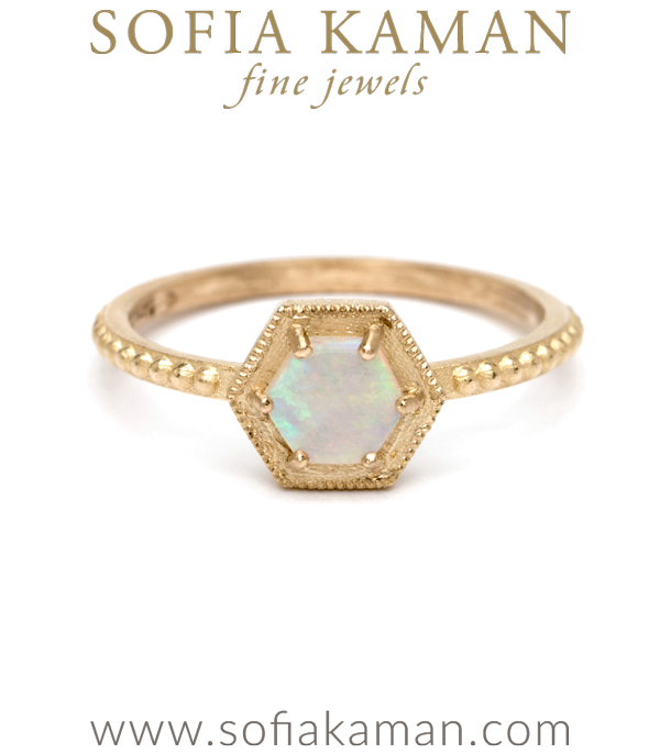 Opal Hexagon Halo Boho Stacking Ring designed by Sofia Kaman handmade in Los Angeles using our SKFJ ethical jewelry process. This piece has been sold and is in the SK Archive.