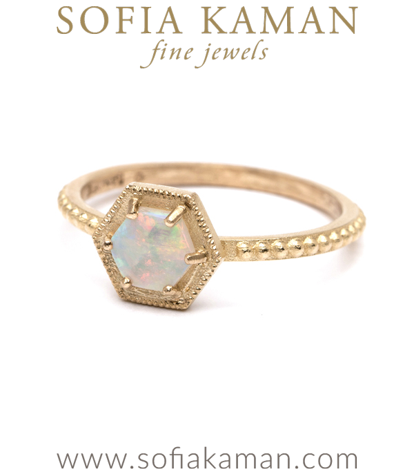 Opal Hexagon Bohemian Stacking Ring