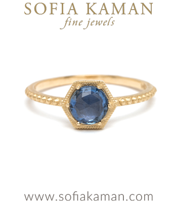 Blue Sapphire Hexagon One of a Kind Engagement Ring designed by Sofia Kaman handmade in Los Angeles
