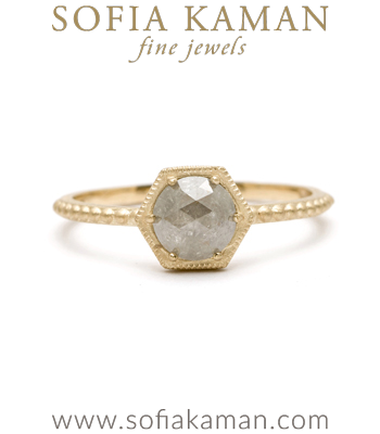Gold East West Hexagon Rose Cut Rustic Diamond Beaded Band Unique Engagement Ring designed by Sofia Kaman handmade in Los Angeles