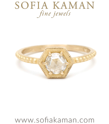 Gold Engagement Rings Rose Cut Diamond Hexagon Handmade Bohemian Engagement Ring designed by Sofia Kaman handmade in Los Angeles
