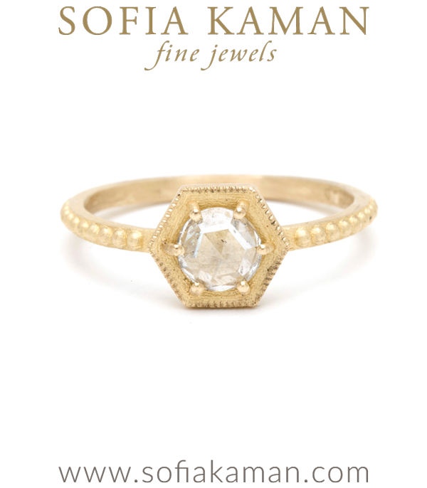 Rose Cut Diamond Hexagon Handmade Bohemian Engagement Ring designed by Sofia Kaman handmade in Los Angeles using our SKFJ ethical jewelry process. This piece has been sold and is in the SK Archive.