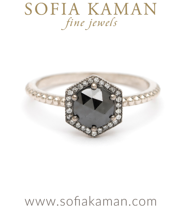 Rose Cut Black Diamond Hexagon Halo Boho Stacking Ring Bohemian Engagement Ring designed by Sofia Kaman handmade in Los Angeles using our SKFJ ethical jewelry process.