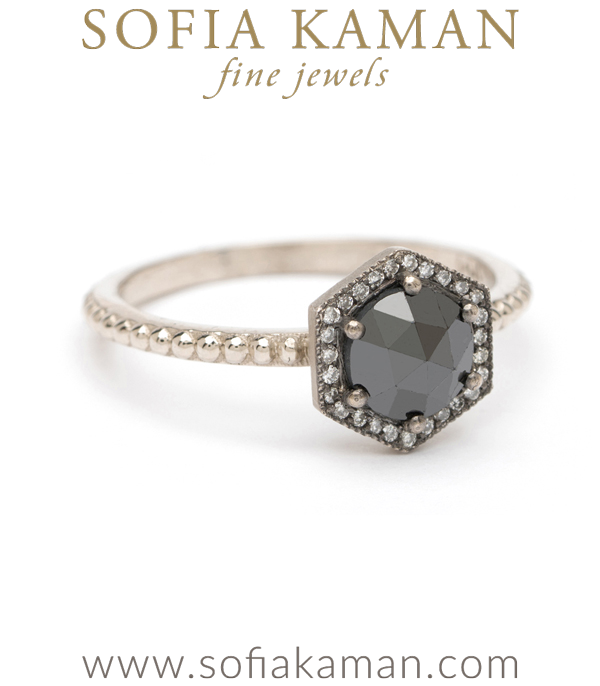 Black Rose Cut Diamond Hexagon Stacking Ring