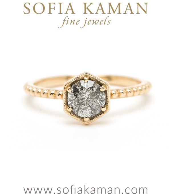 14K Shiny Yellow Gold Boho Hexagon Salt and Pepper Diamond Engagement Ring designed by Sofia Kaman handmade in Los Angeles using our SKFJ ethical jewelry process.