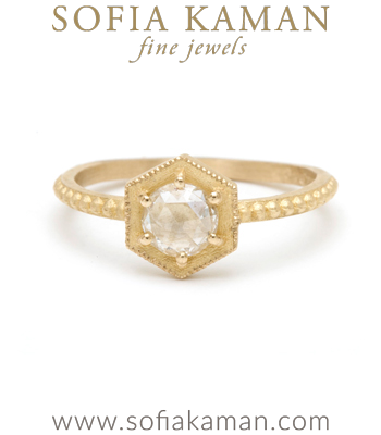 Handmade Rose Cut Diamond Hexagon Bohemian Engagement Ring designed by Sofia Kaman handmade in Los Angeles