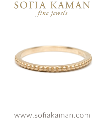 Beaded Nail Head Gold Stacking Ring designed by Sofia Kaman handmade in Los Angeles