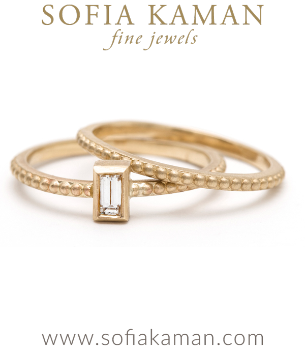 Beaded Stacking Band With Vertical Diamond Baguette